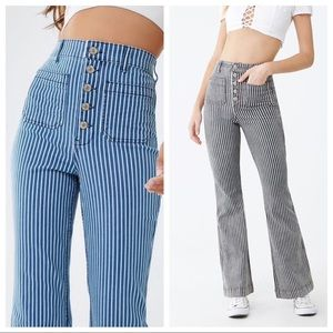 """Forever 21 railroad striped blue flare jeans 24"""""""
